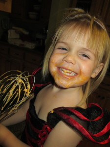 Now, go ahead and lick the whisk!  Look at the joy! You lick the whisk once, you will smile too!