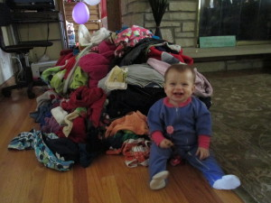 So do you see the HUGE pile!  It is so big!  Look at how happy Charli is!