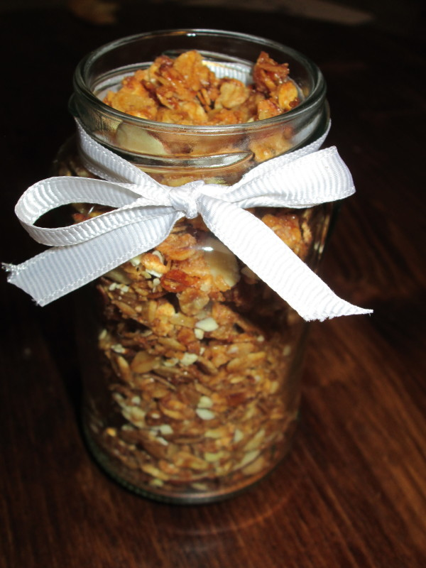 After cooled, break apart and store in an airtight container.  HELPFUL HINT:  I like to keep a batch in the freezer.  GREAT GIFT IDEA!  Who doesn't love delicious granola!