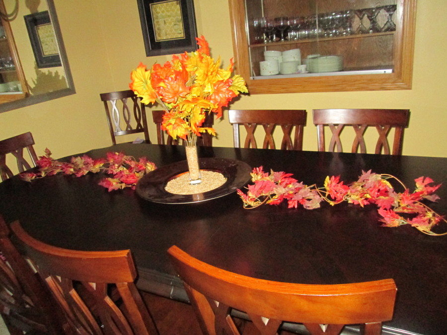 Ta-Duh!!  There you have a simple, but lovely table décor for this beautiful fall season! Total cost : Under $6.00!  HELPFUL HINT: I reuse the same stuff every year, including the wheat.  Just put it in a zip bag and store in your holiday décor.  Happy Fall!