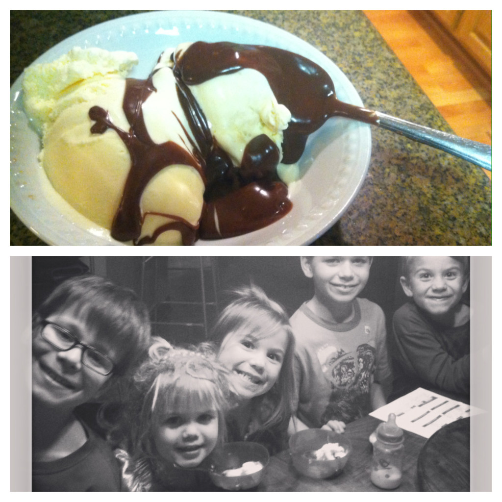 To reheat, microwave sauce for 30 seconds, stir and if still needed heat in 10 second intervals.  Pour over ice cream of your choice and enjoy!  PERFECT for a late night snack with your family!! They will think you are the best, hot fudge sundaes instead of bed.... Yes please!