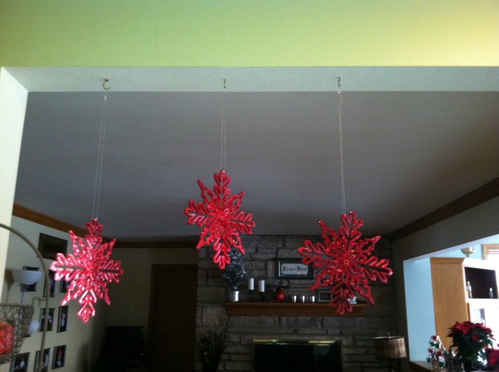 Three simple snowflakes hung with fishing line. Again, I like sets of odd numbers, These were also from the dollar store!