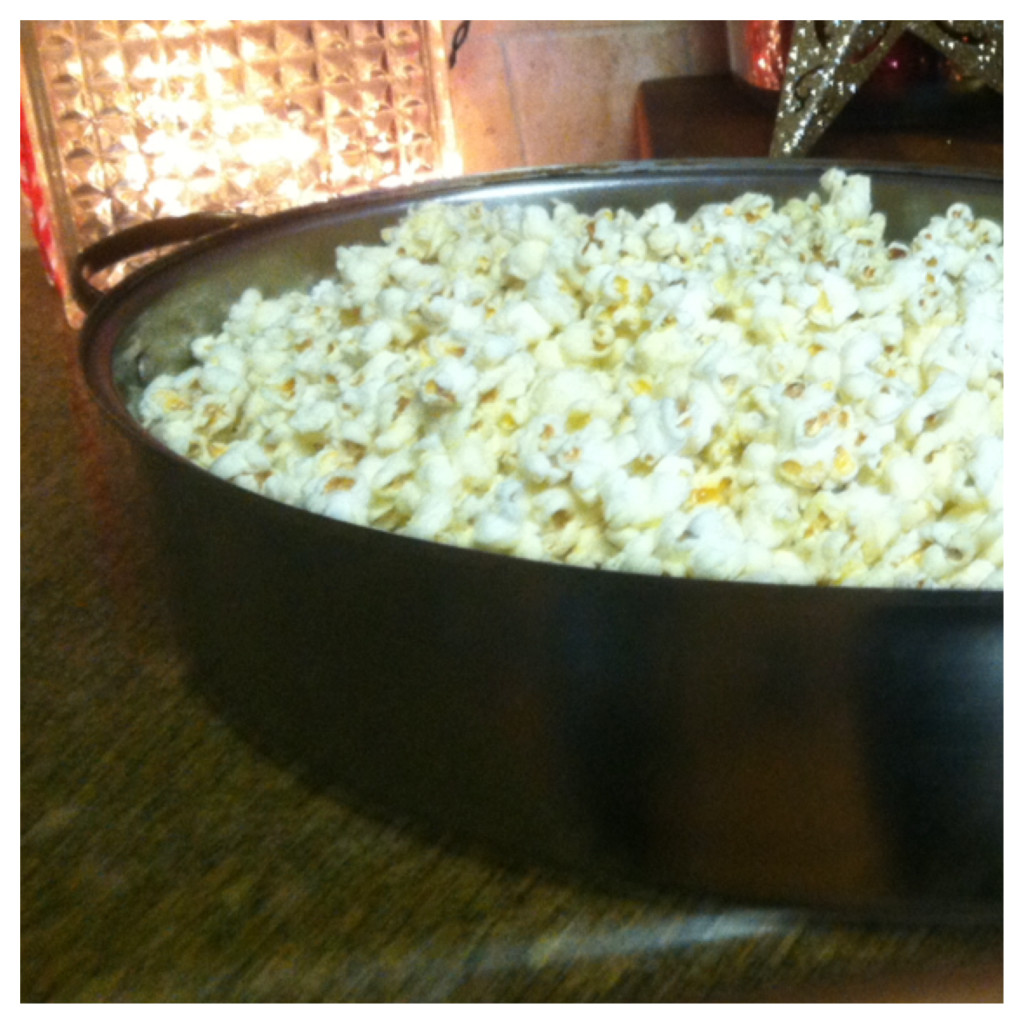 You will need six quarts of popcorn and a large roasting pan to hold it all!  You can pop your corn on the stove ( my favorite, you can use microwave or even store bought)