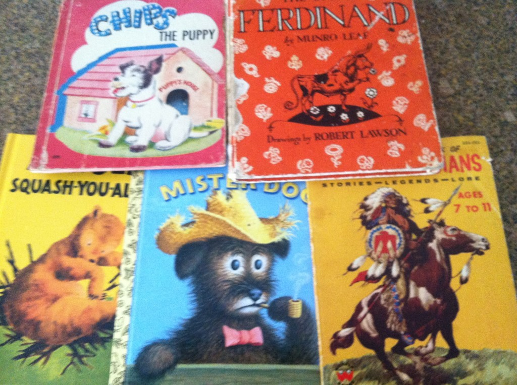These books!  My dad came over to watch the kids for a little bit and he brought these books.  First off, what a great grandpa to watch lots of little ones, secondly, he brought books!  Some of these books I remember him reading to me as a little girl... Ferniand the bull and Mister dog are my favorites of all time  I am so very grateful for my dad.  Words can not express how much I love him.