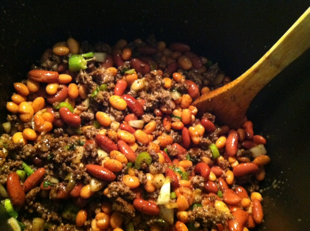 Add both types of beans including the liquid.  Stir well again!