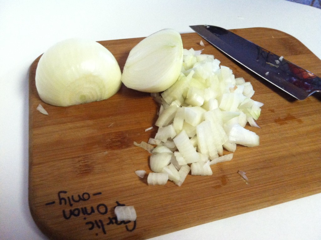 Chop one medium onion.  Remember I am doubling it, so there are two onions here!
