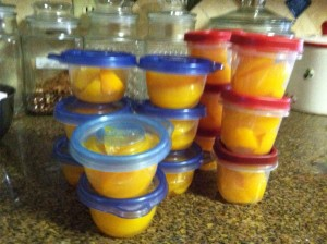 YES!! Lots of peaches and saved lots of money!  Throw those in the fridge and they are perfect to grab for lunches or a snack!