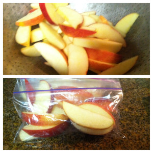 After they have drained, put them in zip lock bags. I love the snack size for apples, they are perfect! Store the apples in the fridge! ENJOY!