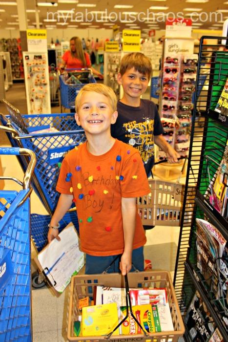 school shopping! in line!